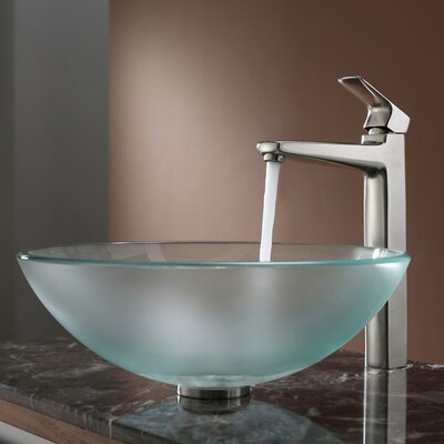 Virtus Frosted Glass Circular Vessel Bathroom Sink Faucet Finish: Brushed Nickel