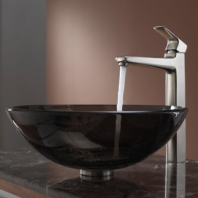 Virtus Glass Circular Vessel Bathroom Sink Faucet Finish: Brushed Nickel, Sink Finish: Clear