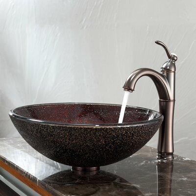 Callisto Glass Circular Vessel Bathroom Sink with Overflow Faucet Finish: Oil Rubbed Bronze
