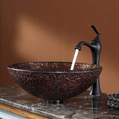 Venus Glass Circular Vessel Bathroom Sink with Overflow