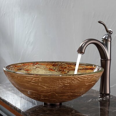 Ares Glass Circular Vessel Bathroom Sink with Overflow