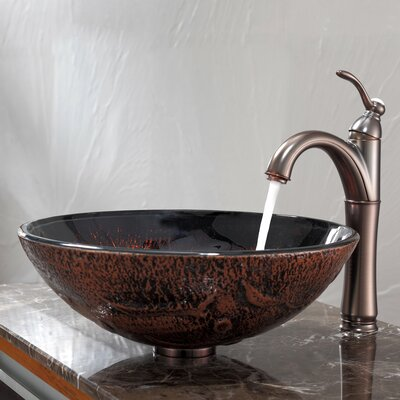 Lava Glass Circular Vessel Bathroom Sink with Overflow