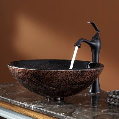 Lava Glass Circular Vessel Bathroom Sink with Overflow