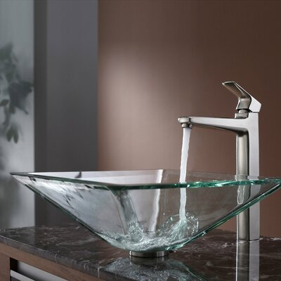 Virtus Glass Square Vessel Bathroom Sink Faucet Finish: Brushed Nickel