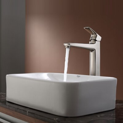Virtus Ceramic Rectangular Vessel Bathroom Sink Faucet Finish: Brushed Nickel