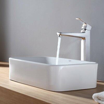 Virtus Ceramic Rectangular Vessel Bathroom Sink Faucet Finish: Chrome