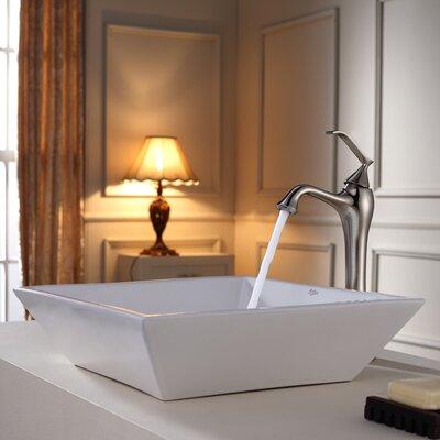 Ceramic Square Vessel Bathroom Sink Faucet Finish: Brushed Nickel