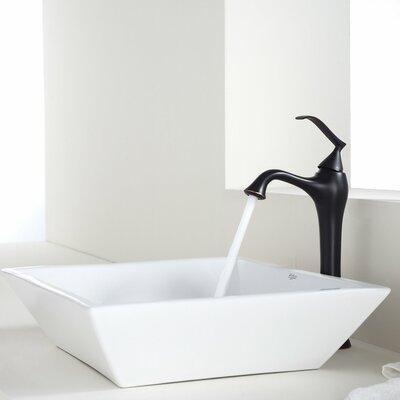 Ceramic Square Vessel Bathroom Sink Faucet Finish: Oil Rubbed Bronze