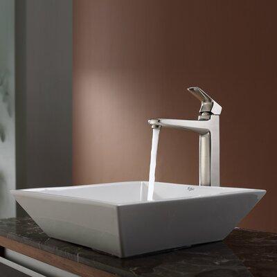 Virtus Ceramic Square Vessel Bathroom Sink Faucet Finish: Brushed Nickel