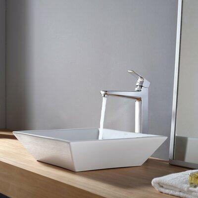 Virtus Ceramic Square Vessel Bathroom Sink Faucet Finish: Chrome
