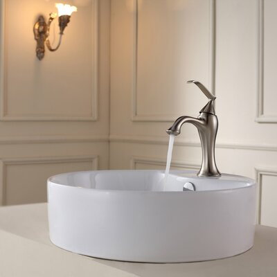 Bathroom Combos Circular Vessel Bathroom Sink with Overflow Faucet Finish: Brushed Nickel