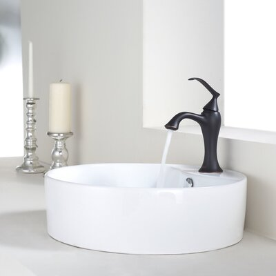 Bathroom Combos Circular Vessel Bathroom Sink with Overflow Faucet Finish: Oil Rubbed Bronze