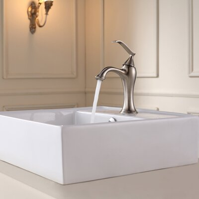 Ceramic Square Vessel Bathroom Sink with Overflow Faucet Finish: Brushed Nickel