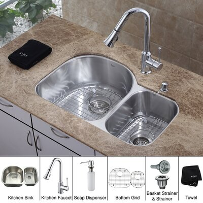 30 inch Undermount Double Bowl Kitchen Sink with Chrome Faucet and Soap Dispenser