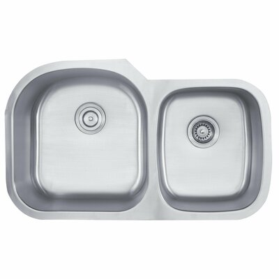 Stainless Steel 35.13 x 20.75 Double Basin Undermount Kitchen Sink with NoiseDefend Soundproofing