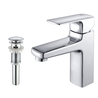 Virtus Single Hole Single Handle Bathroom Faucet with Optional Pop Up Drain Finish: Chrome, Optional Accessories: With Pop Up Drain