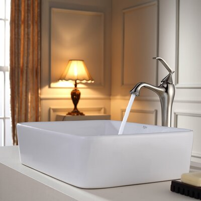 Ceramic Rectangular Vessel Bathroom Sink Faucet Finish: Brushed Nickel