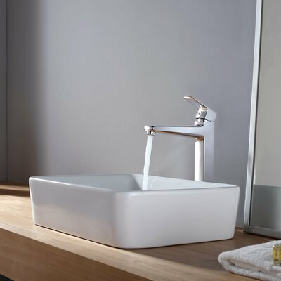 Virtus Rectangular Vessel Bathroom Sink Faucet Finish: Chrome
