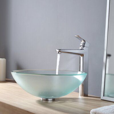 Virtus Frosted Glass Circular Vessel Bathroom Sink Faucet Finish: Chrome