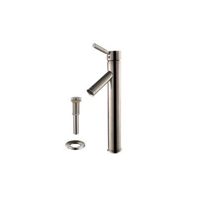 Glass Sheven Square Vessel Bathroom Sink Faucet Finish: Satin Nickel