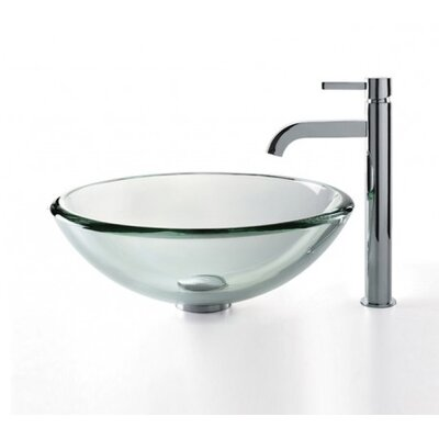 Clear Thick Glass Circular Vessel Bathroom Sink Finish: Chrome