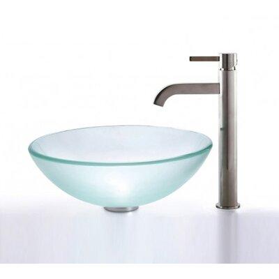 Frosted Glass Circular Vessel Bathroom Sink Finish: Satin Nickel
