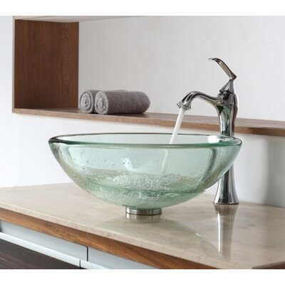 Glass Circular Vessel Bathroom Sink Finish: Chrome
