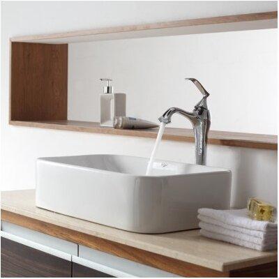 Ceramic Rectangular Vessel Bathroom Sink Faucet Finish: Chrome