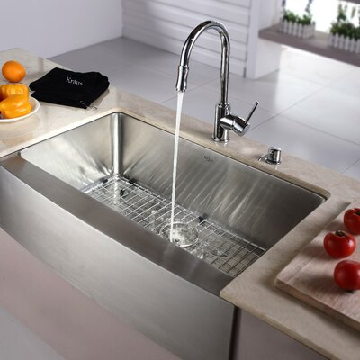 32.88 x 20.75 Farmhouse Kitchen Sink with Faucet and Soap Dispenser Faucet Finish: Chrome