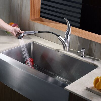 32.88 x 20.75 Farmhouse Kitchen Sink with Faucet and Soap Dispenser