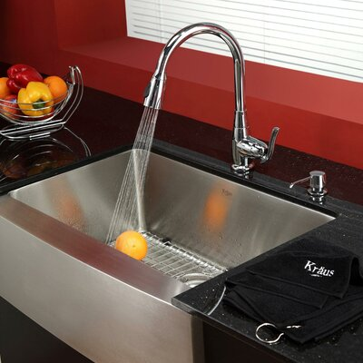 29.75 x 20 Farmhouse Kitchen Sink with Faucet and Soap Dispenser Finish: Chrome