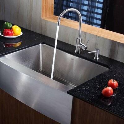 29.75 x 20.75 Farmhouse Kitchen Sink with Faucet and Soap Dispenser