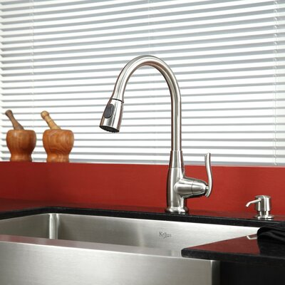 29.75 x 20 Farmhouse Kitchen Sink with Faucet and Soap Dispenser Finish: Satin Nickel