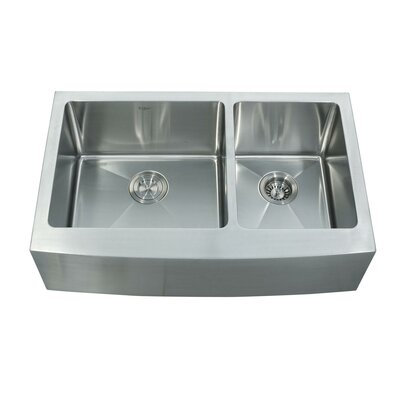 32.88 x 20.75 Farmhouse Double Basin Kitchen Sink with Faucet and Soap Dispenser Faucet Finish: Chrome