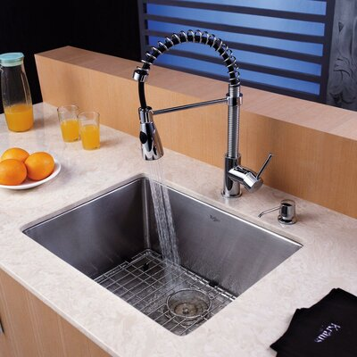 Stainless Steel 23 x 18 Undermount Kitchen Sink with Faucet and Soap Dispenser Faucet Finish: Chrome