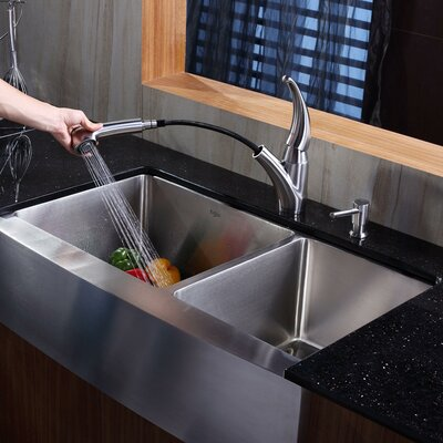 35.88 x 20.75 Farmhouse Double Basin Kitchen Sink with Faucet and Soap Dispenser