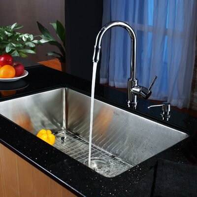 Stainless Steel 30 x 18 Undermount Kitchen Sink with Faucet and Soap Dispenser Faucet Finish: Chrome