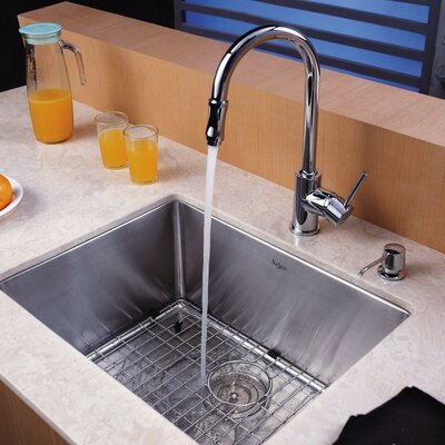 23 x 18 Undermount Kitchen Sink with Faucet and Soap Dispenser Faucet Finish: Chrome