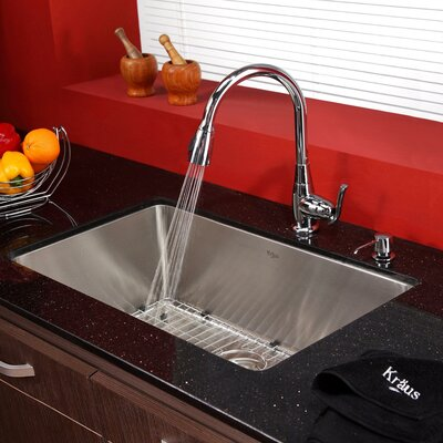 Kitchen Combos 30 x 18 Undermount Kitchen Sink with Faucet and Soap Dispenser Finish: Chrome