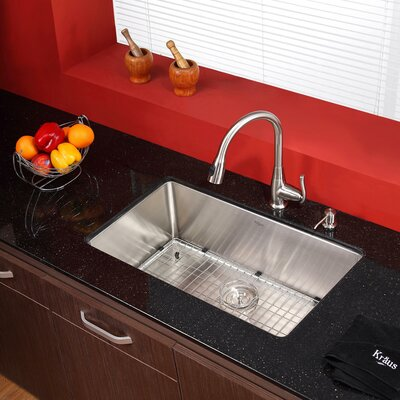 30 x 18 Undermount Kitchen Sink with Faucet and Soap Dispenser Finish: Satin Nickel