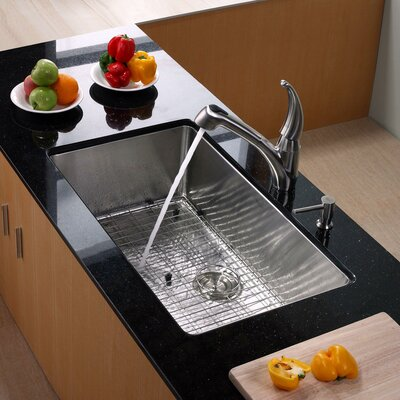 Stainless Steel 32 x 19 Undermount Kitchen Sink with Faucet and Soap Dispenser