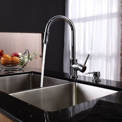 Stainless Steel 21 x 16.75 Double Basin Undermount Kitchen Sink with Faucet and Soap Dispenser Faucet Finish: Chrome