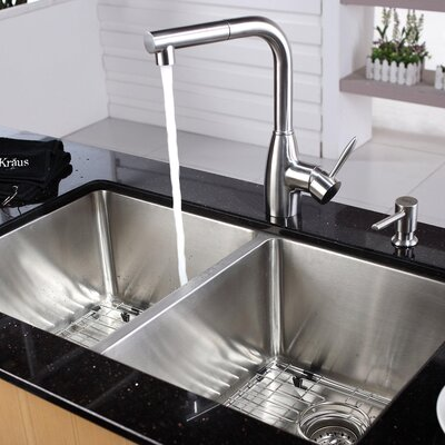 32.75 x 19 Double Bowl Undermount Kitchen Sink with Faucet