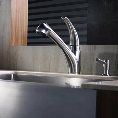 Stainless Steel Pull Out Kitchen Faucet with Soap Dispenser   Bathroom Sink