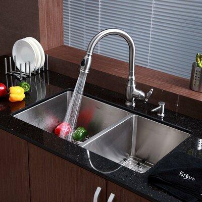 Quality 33 X 19 8 Piece Undermount Double Bowl Kitchen Sink Set