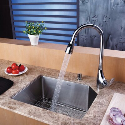 Stainless Steel 23 x 18.75 Undermount Kitchen Sink with Faucet and Soap Dispenser Faucet Finish: Chrome