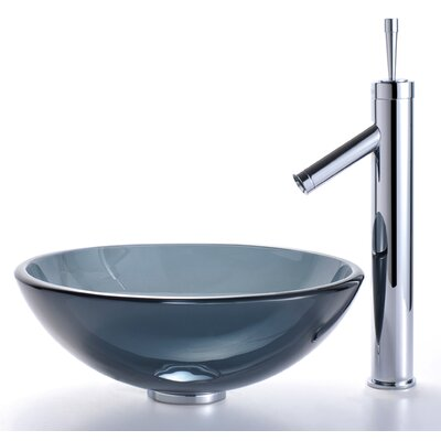 Circular Vessel Bathroom Sink Sink Finish: Clear Black