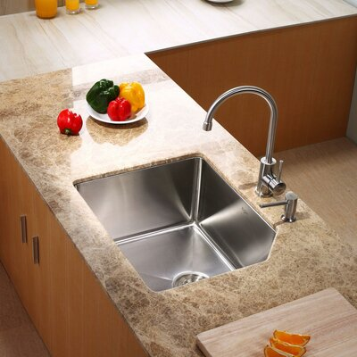 Stainless Steel 23 x 18.75 Undermount Kitchen Sink with Faucet and Soap Dispenser