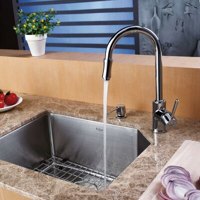 Stainless Steel 21 x 16.75 Undermount Kitchen Sink with Faucet and Soap Dispenser Faucet Finish: Chrome