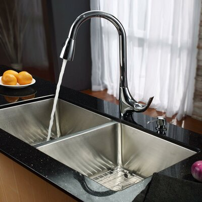 Stainless Steel 32.75 x 19 Double Basin Undermount Kitchen Sink with Faucet and Soap Dispenser Faucet Finish: Chrome